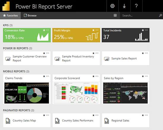 Power BI on-premises dashboard example